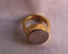 Cambodian Jewellery Made From Recycled Brass bomb shell Natural Stone Rings | The Shop for Change