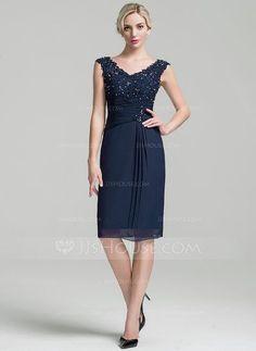 Sheath/Column V-neck Knee-Length Chiffon Mother of the Bride Dress With Ruffle Beading Sequins (008091939) - JJsHouse