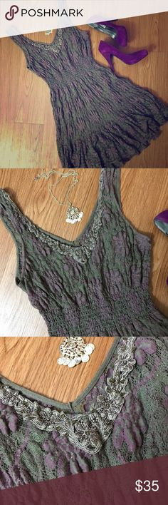 Free People Lace Fit & Flare Dress Free People gray and purple lace fit and flare dress with gathered waist. Beaded and embroidered design at neckline. Fully lined. Size medium but fits small. Some pilling but that's the only real evidence of wear. Gorgeous dress!!!! Purple Steve Madden heels also available in my closet. [🏠🐾 Comes from a smoke free and pet friendly home. ✅Reasonable offers welcome! 💲Don't forget to bundle and save! 💰💸] Free People Dresses Mini