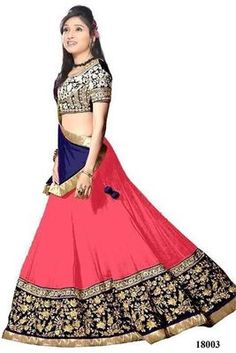 Pink embroidered georgette unstitched lehenga choli at Mirraw.com