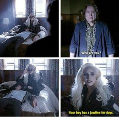 "AHS: Hotel, American Horror Story, The Countess, Iris, Donovan, ""Your boy has a jawline for days."", Lady Gaga, Kathy Bates"