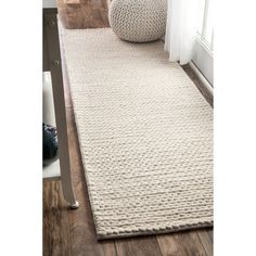 Shop for nuLOOM Handmade Casual Braided Wool Off White Runner Rug (2'6 x 8')…