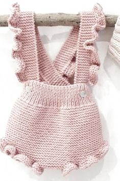 Knitted Baby Clothes, Knitted Romper, Crochet Clothes, Knitted Baby Outfits, Crochet Outfits For Babies, Knit Baby Dress, Ruffle Romper, Baby Knits, Knitting For Kids