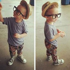 This lil hipster just finished his organic baby formula and is trying out his new Warby Parkers.