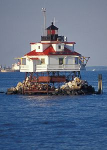 Thomas Point Lighthouse Chesapeake Bay Maryland. Use to boat pass this every summer and wave at the families who used to live there.