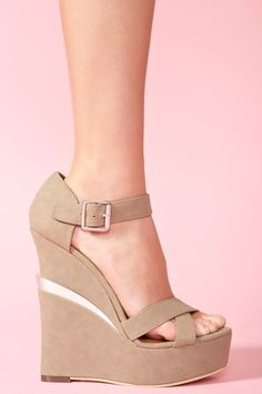 Electric Platform Wedge - Taupe