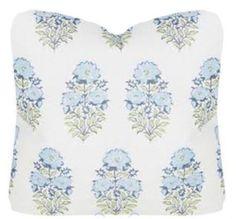 Lisa Fine Mughal Flower Monsoon hand printed on Natural Linen Pillow/ Designer Throw Pillow