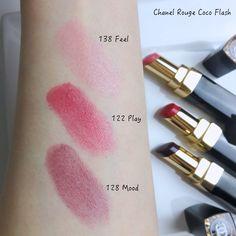 Chanel Rouge Coco Flash (Feel, Play, Mood)   Lenallure Swatch, Chanel, Lipstick, Mood, Play, Feelings, Beauty, Red, Lipsticks