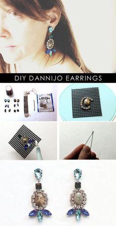 Make DIY Dannijo-inspired rhinestone earrings. Wire Jewelry, Jewelry Crafts, Beaded Jewelry, Jewelery, Handmade Jewelry, Diy Rhinestone Earrings, Diy Earrings, Stud Earrings, I Love Diy