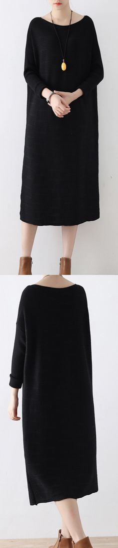 warm autumn outfits casual black  jacquard knit dress