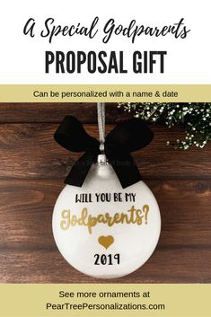 Will You Be My Godparents Ornament, Baptism Gifts For Godparents Will You Be My Godparents Ornament, Baptism Gifts For Godparents Will you be my godparents ideas Baptisms, Godparents proposal ideas, Godparents ornament Godparent Gifts, Baptism Gifts, Personalized Gifts, Baptism Ideas, White Glitter Background, Godfather Gifts, New Baby Gifts, Graduation Gifts, Christening
