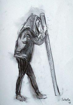 Ejercicio 5. Apuntes de figura de pie. 35x50. Sabela Viturro. Carboncillo