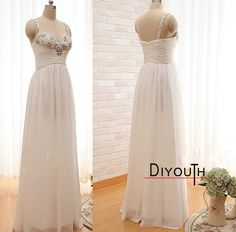 #DIYouth Formal Crystals Prom Dresses Sweetheart Ruffle Long Chiffon Crystals Prom Dresses 2015,Beading evening dresses, Floor-Length graduation dress