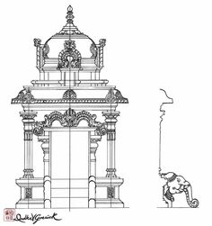 unit with mandir Indian Temple Architecture, India Architecture, Temple India, Hindu Temple, Traditional Paintings, Traditional Art, Temple Drawing, New Nature Wallpaper, Indian Illustration