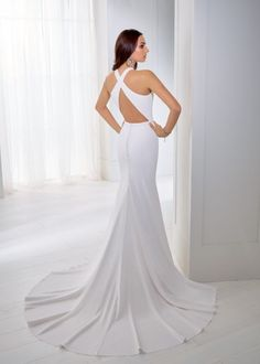 Estilo NLOAX TEA A crepe fit and flare wedding dress with a halter neckline, open racer back and a beaded waist motif. Tea Wedding Dresses, Ronald Joyce Wedding Dresses, Fit And Flare Wedding Dress, Designer Wedding Dresses, Bridal Dresses, Luxury Wedding, Ivory White, Fall 2018, Dress Ideas
