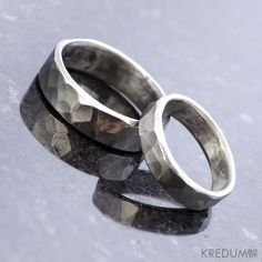 Unique wedding ring for men and women - Hand forged stainless steel ring