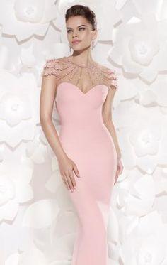 Embellished High Sheer Neckline Gown by Tarik Ediz 92484
