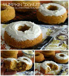 GF, Low-carb Pumpkin Donuts w/ Vanilla Buttercream frosting (<2carbs per donut!!)