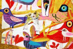 "Love Birds / Pássaros do Amor (por Sempre) 2015 Mixed-media collage on primed wood panel. Size: 48""h x 48""."