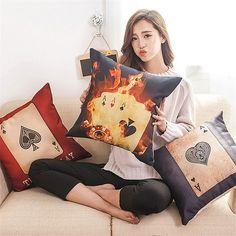45*45cm Texas Holdem Poker Pillow Cover Cotton&Linen Cushion Office Nap Throw Pillow Case UIE504