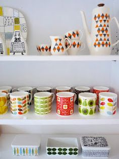 Not all vintage ceramics in here but the top shelf is! from Jane Foster Blog
