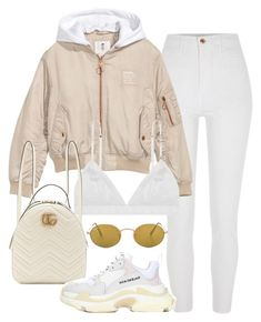 """""""Untitled #313"""" by dressyourbestie ❤ liked on Polyvore featuring River Island, H&M, Gucci, Balenciaga and Ray-Ban"""