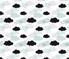Dreamy sky and pastel clouds fabric and wallpaper for boys and girls baby nursery and trendy fashion by Little Smilemakers Studio on Spoonflower