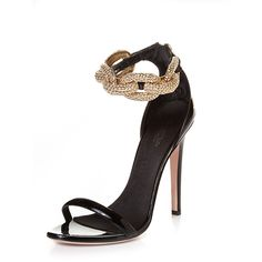 Giambattista Valli Chain Leather Sandal GBV919 ($588) ❤ liked on Polyvore featuring shoes, sandals, heels, genuine leather shoes, stiletto high heel shoes, heeled sandals, leather shoes and chain shoes