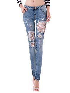 Mid-Rise Waist Holes Lace Jeans