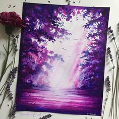 💜💙It's that time of year again, love is in the air 💙💜 Naturally, a purple, pink forest came to life. Happy Valentine's Day for tomorrow,… Watercolor Illustration, Watercolour Painting, Painting & Drawing, Watercolors, Painting Inspiration, Art Inspo, Art Anime, Guache, 3d Drawings
