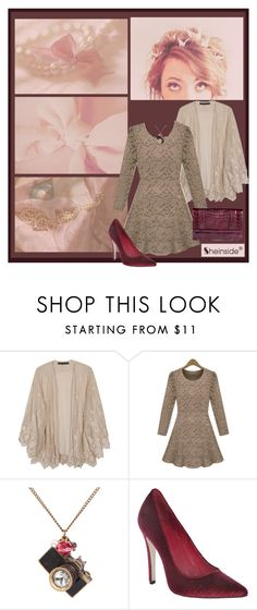 """""""Velvet & Lace"""" by theclosetbychristie ❤ liked on Polyvore featuring Alice + Olivia, Nancy Gonzalez, burgundy, lace dresses, velvet shoes, pearl necklaces, sheinside and berry"""