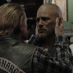 Happy tearing up as he says goodbye to Jax, Sons Of Anarchy Series Finale (it breaks my heart to see a tough guy like Happy cry)