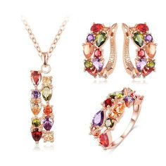 Gorgeous Colorful Zircon Stone Jewelry Set -