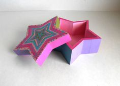 Large Hand Painted Star Trinket/ Jewelry/ Keepsake Box