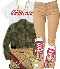 A fashion look from March 2014 featuring cropped shirts, lightweight jackets and khaki jeans. Browse and shop related looks. Mode Converse, Outfits With Converse, Dope Outfits, Swag Outfits, Cute Casual Outfits, Stylish Outfits, Camo Fashion, Teen Fashion, Camouflage