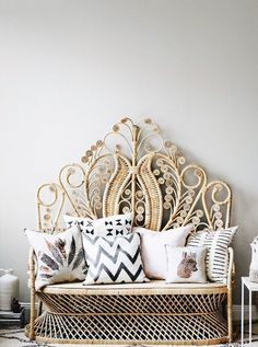 3 Relaxing Cool Ideas: Wicker Light Rattan how to make wicker furniture. Rattan Sofa, Rattan Furniture, Furniture Design, Wicker Headboard, Wicker Bedroom, Furniture Ideas, Wingback Chair, Double Headboard, Home Decor Ideas