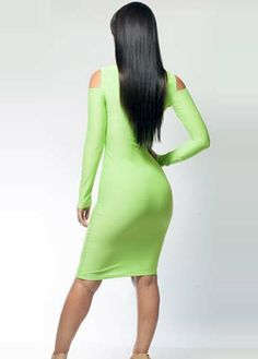 Chicloth Sexy Bright Green Cut out Bodycon Dress Clothing Tags, Off The Shoulder, Cold Shoulder, Green Dress, Warm Weather, Fashion Dresses, Women's Fashion, Bright Green, Fresh Green