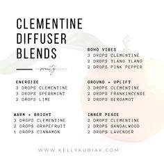 Diffuser Blends using Clementine Essential Oil