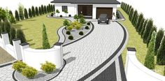 perfect for our house and yard layout. Front Garden Landscape, Front Yard Landscaping, Landscape Design, Outdoor Living Rooms, Outdoor Spaces, Building Front, Driveway Design, Porch Steps, Garden Planning