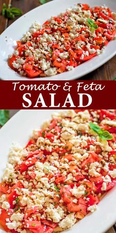 pico degallo recipes This simple Tomato Feta Salad is one of the best, easiest salads youll make! Fresh herbs, succulent tomatoes, creamy feta cheese and a touch of balsamic reduct Healthy Food Recipes, Vegetarian Recipes, Cooking Recipes, Recipes With Feta, Qinuoa Recipes, Feta Cheese Recipes, Rice Salad Recipes, Tomato Salad Recipes, Couscous Recipes