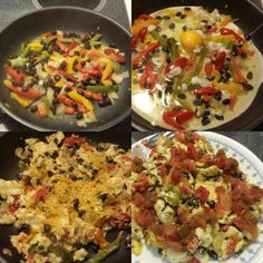 Fiesta scrambled eggs!!! Peppers, onions, black beans, 1 egg 4 egg whites, salsa, and shredded cheddar for a yummy 21 Day Fix approved breakfast, lunch, or dinner :)