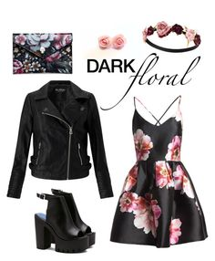 """""""Dark Floral"""" by sabrinaregina on Polyvore featuring Miss Selfridge, Sans Souci, Alexander McQueen and Forever 21"""