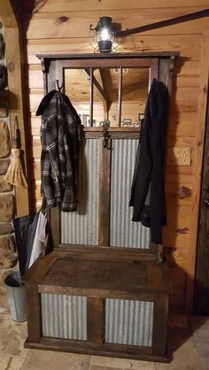 Wood And Metal Entryway Hall Tree Coat Rack Bench And