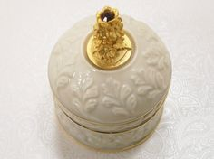 Vintage Lenox Trinket Box July Ruby Red Birthday Porcelain Collectible