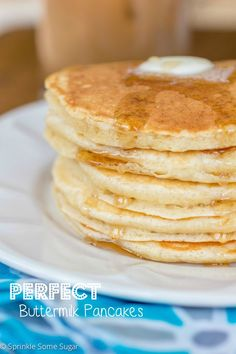 Perfect Buttermilk Pancakes. Fluffy, buttery and delicious. My family's favorite…