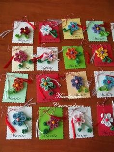 Martisoare quilling Easy Crafts To Make, Diy Home Crafts, Quilling Flowers, Quilling Designs, Christmas Crafts For Kids, Gift Tags, Origami, Free Pattern, Projects To Try