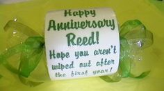 Haha! Happy 1st Paper Anniversary embroidered Toilet Paper gift Add NAME & DATE for FREE.  via Etsy.