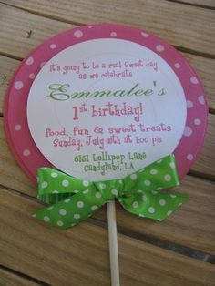 Lollipop Birthday Party Invitation CUSTOM by maddieclaire on Etsy