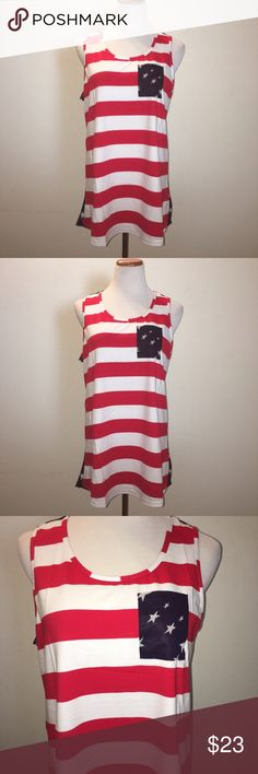 American Flag Patriotic Print Sleeveless Tee Vintage Usa Flag Women's Tank Tops American Flag Patriotic Print Sleeveless Tee . Very well made. This is a longer Tank that can be worn as a dress or over leggings. When ordering please order one size up than what you would normally wear. The tank is a high low tank. Tops