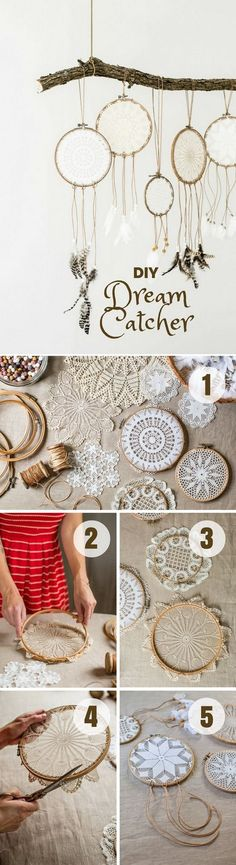 Lacy Dreamcatchers. The lacy fabrics in the center make this dreamcatcher more delicate and beautiful. It is a great DIY craft for us hippy girls to make.